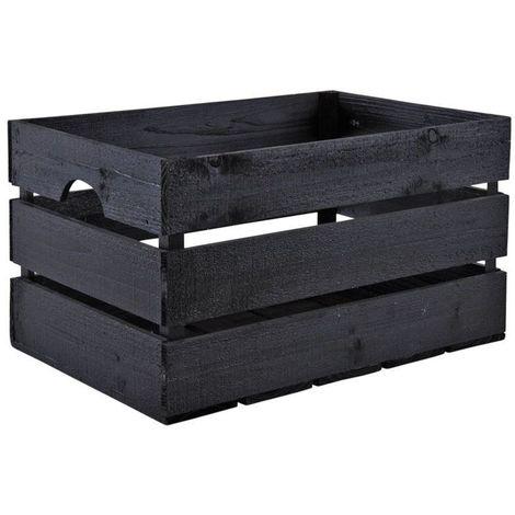 Caisse en bois peint noir - Noir