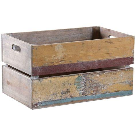 Caisse en bois recyclé multicolore - Multicolore