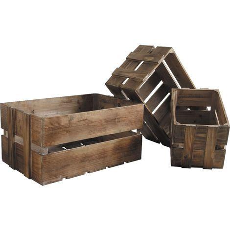 Caisse en bois vieilli (Lot de 3)