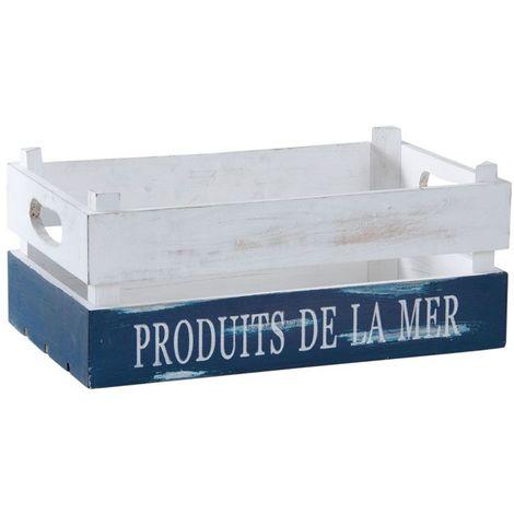 Caisse Produits de la Mer en bois patiné blanc et bleu
