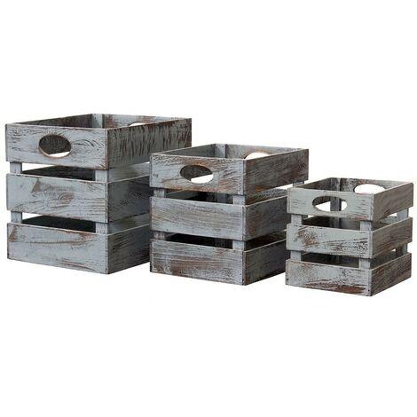 Caisses carrées en bois empilables - lot de 3 - Casâme