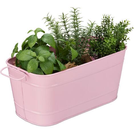 Caisses de fleurs, jardin, balcon et intérieur; à garnir de plantes, vintage,métal,HlP 16x38x19cm, rose