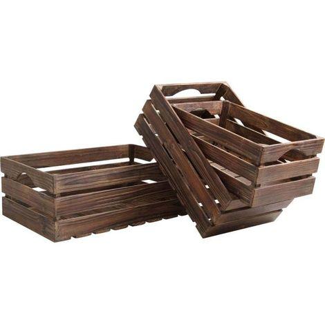 Caisses en bois vieilli (Lot de 3)