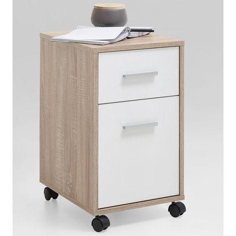 Caisson 1 tiroir + 1 porte finition chêne/blanc - Dim : L42 x H57.2 x P33.6 cm -PEGANE-