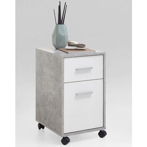 Caisson 1 tiroir + 1 porte finition gris béton LA/blanc - Dim : L42 x H57.2 x P33.6 cm -PEGANE-