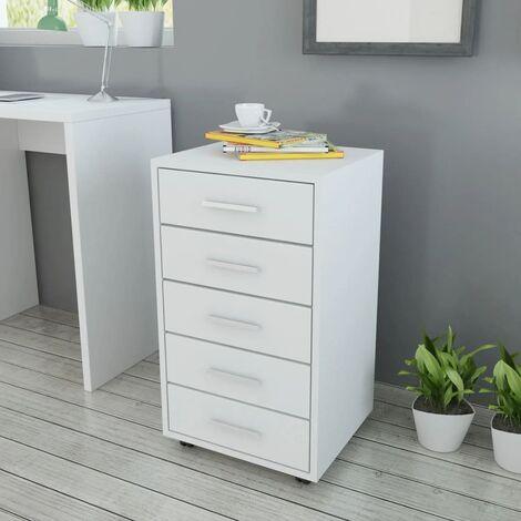 Caisson à tiroir de bureau avec roulettes et 5 tiroirs blanc