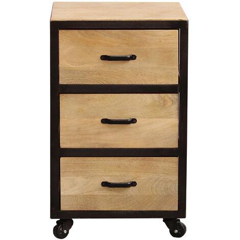 3 Caisson de en tiroirs bureau industriel massif bois Nm80vnOw