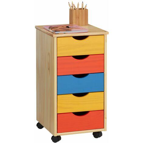 Caisson de bureau LAGOS meuble de rangement sur roulettes avec 5 tiroirs, en pin massif lasuré multicolore jaune rose et violet