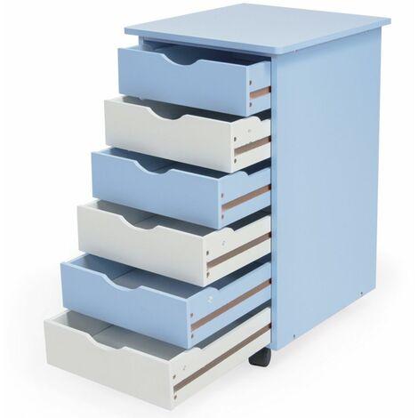 Caisson de bureau meuble en bois bleu - Bois