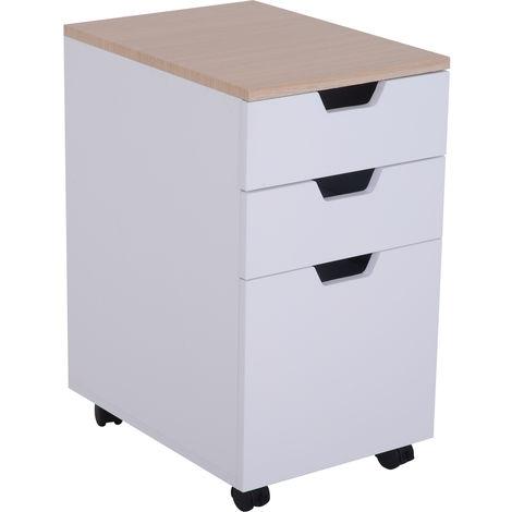 Caisson de bureau rangement bureau sur roulettes 3 tiroirs coulissants dim. 34L x 40I x 60,5H cm MDF blanc bois clair