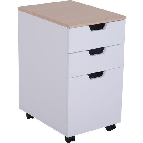 Caisson de bureau rangement bureau sur roulettes 3 tiroirs coulissants dim. 34L x 40I x 60,5H cm MDF blanc bois clair - Blanc