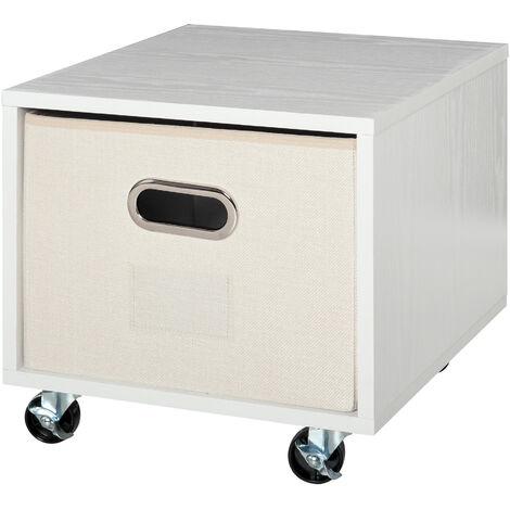 Caisson de bureau rangement bureau sur roulettes tiroir lin beige avec porte-étiquette panneaux particules blanc