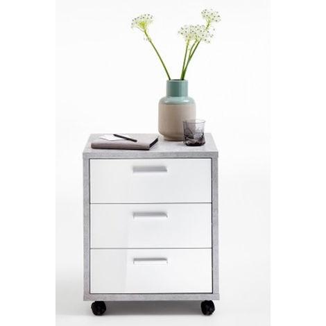 Caisson de bureau sur roulettes en bois mélamine Light Atelier/blanc brillant - Dim : 49,5 x 42 x 59,5 cm - PEGANE -