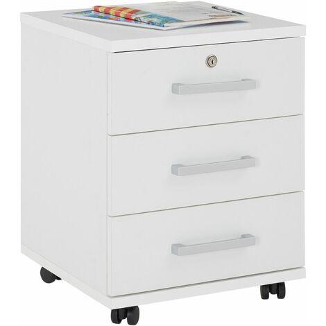 Caisson de bureau YOAN, meuble de rangement sur roulettes avec 3 tiroirs, en mélaminé blanc mat