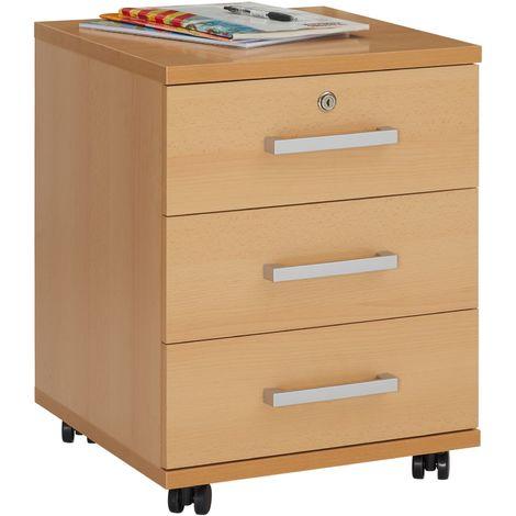Caisson de bureau YOAN, meuble de rangement sur roulettes avec 3 tiroirs, en mélaminé couleur hêtre