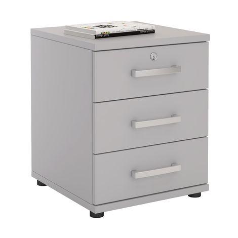 Caisson de bureau YVES, meuble de rangement avec 3 tiroirs, en mélaminé gris clair mat