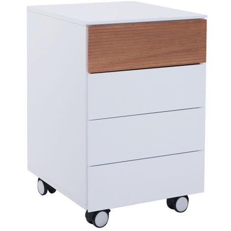 Caisson en bois coloris blanc avec tiroir chêne - Dim : 40 x 45 x 63 cm -PEGANE-