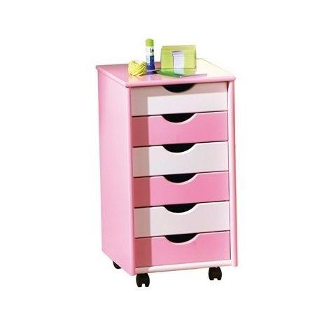Caisson sur roulettes - Blanc et rose - Pierre - Meuble 6 tiroirs pour bureau