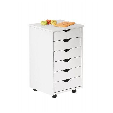 Caisson sur roulettes - Blanc - Simon - Meuble 6 tiroirs pour bureau
