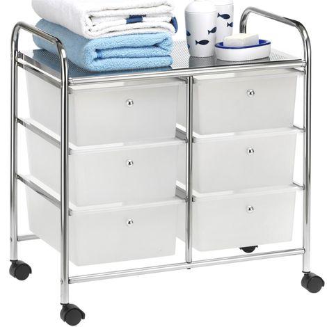Caisson sur roulettes GINA chariot avec 6 tiroirs en plastique blanc transparent et 1 étagère, rangement salle de bain métal chromé