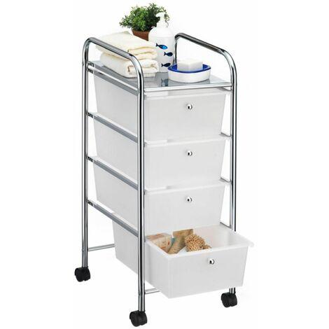 Caisson sur roulettes SANO chariot avec 4 tiroirs en plastique blanc transparent et 1 tablette, rangement salle de bain en métal