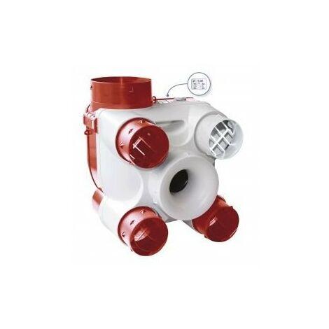 Groupe VMC Deco DHU N - Simple flux + sonde hygrométrique - 26,75 W-Th-C - 4 sanitaires