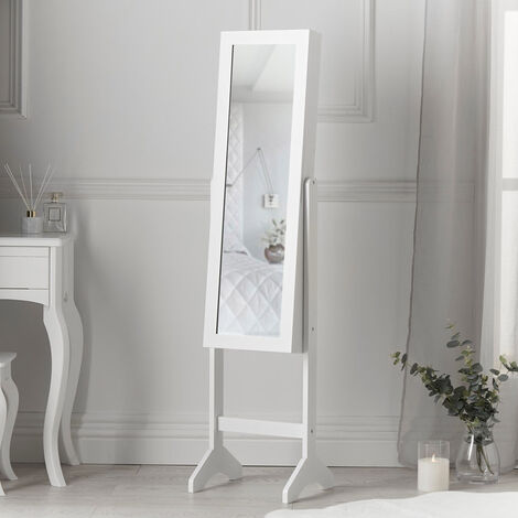 Caitlyn Standing Full Length Mirror Jewellery Cabinet For Bedroom Storage Organiser