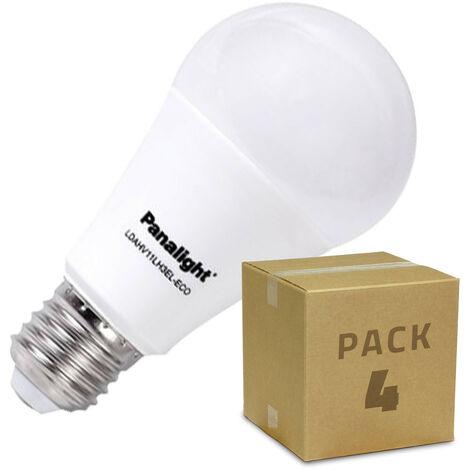 Caja 4 Bombillas LED E27 Casquillo Gordo PANASONIC Frost Bulbo 9W Blanco Cálido 3000K