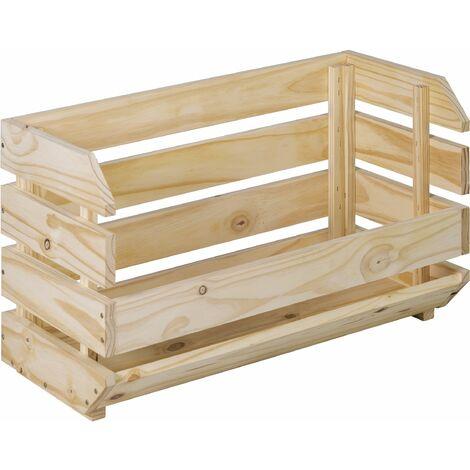 Caja apilable resistente de madera maciza de pino 35,3x60x28,5cm