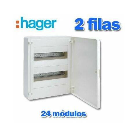 Caja automáticos superficie Hager, 2 filas, 24M ,VS212PE con puerta