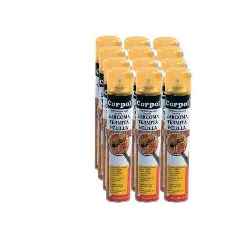 Caja completa 12x Spray CORPOL 500ml tratamiento para madera anti carcoma, termita y polilla