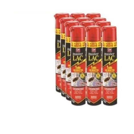 Caja completa 12x Spray MASTER LAC 750 ml (incluye 150 ml Gratis) contra moscas, cucarachas, hormigas, arañas y pulgas