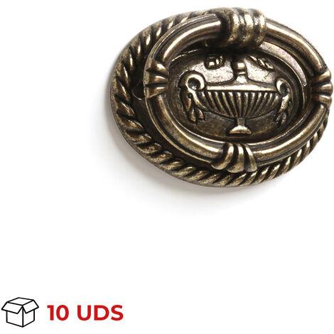 Caja con 10 anillas en pomo de estilo clásico metálico, fabricada en zamak, con acabado cuero viejo y 46 mm de distanci