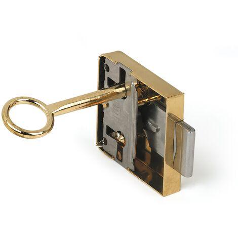 Caja con 10 cerraduras con llave para puerta, fabricada en acero y con acabado latonado. Ref. 205A.30