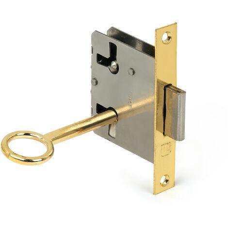 Caja con 10 cerraduras con llave para puerta, fabricada en acero y con acabado latonado. Ref. 206A.30