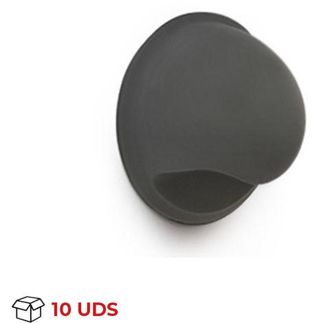 Caja con 10 conchas de estilo juvenil, fabricada en plástico, con acabado haya transparente y 40 mm de diámetro.