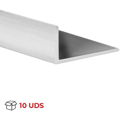 Caja con 10 perfiles angular con lados desiguales de plástico (PVC), acabado en gris satinado y 1000 mm de largo. Ref. 9