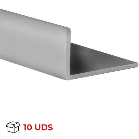 Caja con 10 perfiles angular con lados desiguales de plástico (PVC), acabado en gris y 1000 mm de largo. Ref. 9101.2520.