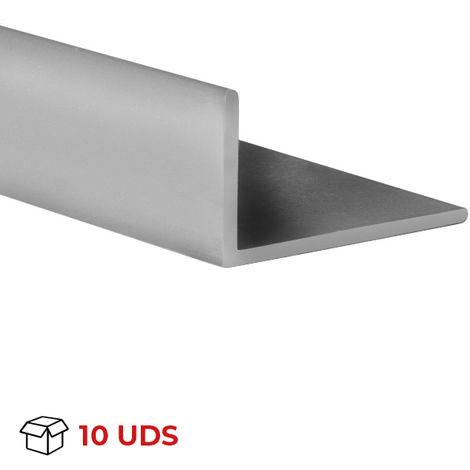 Caja con 10 perfiles angular con lados desiguales de plástico (PVC), acabado en gris y 1000 mm de largo. Ref. 9101.3020.