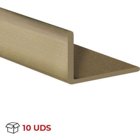 Caja con 10 perfiles angular con lados desiguales de plástico (PVC), acabado en oro y 1000 mm de largo. Ref. 9101.2010.2