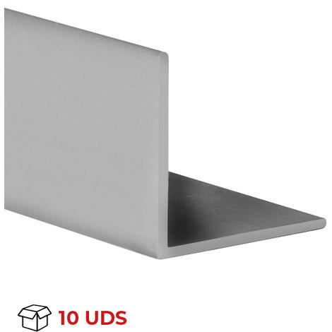 Caja con 10 perfiles angular con lados iguales de plástico (PVC), acabado en gris y 1000 mm de largo. Ref. 9100.1010.02