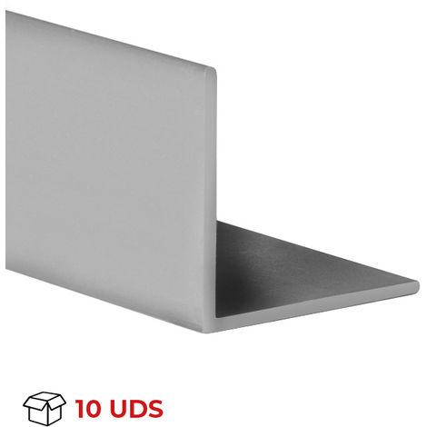 Caja con 10 perfiles angular con lados iguales de plástico (PVC), acabado en gris y 1000 mm de largo. Ref. 9100.2020.02