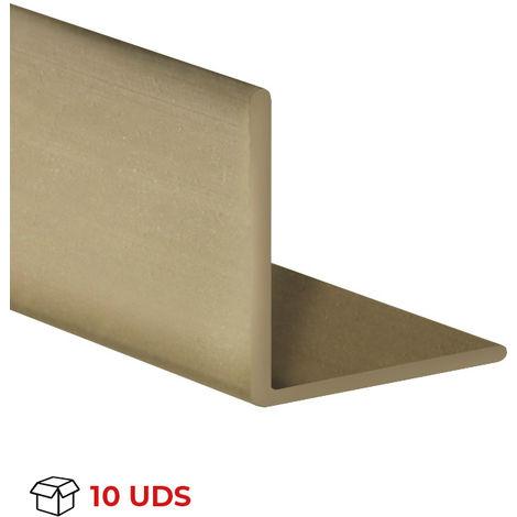 Caja con 10 perfiles angular con lados iguales de plástico (PVC), acabado en oro y 1000 mm de largo. Ref. 9100.2020.20