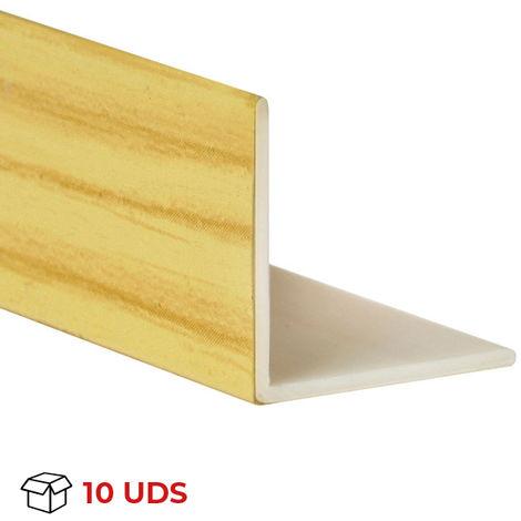 Caja con 10 perfiles angular con lados iguales de plástico (PVC), acabado en pino y 1000 mm de largo. Ref. 9100.1010.94
