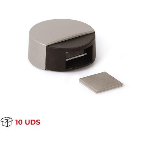 Caja con 10 retenedores de puerta con imán adhesivo marca REI, de estilo moderno, fabricado en plástico y con acabado beige