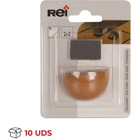 Caja con 10 retenedores de puerta con imán adhesivo marca REI, fabricado en madera, con acabado roble transparente y diseño