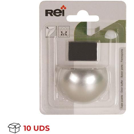 Caja con 10 retenedores de puerta con imán adhesivo marca REI, fabricado en plástico, con acabado cromo mate y diseño redon