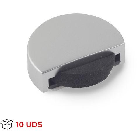 Caja con 10 topes de puerta adhesivo marca REI, fabricado en plástico, con acabado cromo mate y forma circular