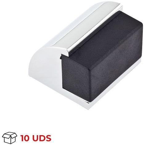 Caja con 10 topes de puerta adhesivo y atornillable marca REI, fabricado en aluminio, con acabado cromo brillo, forma