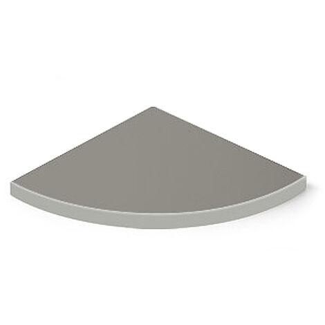 Caja con 2 estantes esquinero de DM, con estilo clásico, acabado en aluminio y 350 mm de profundidad